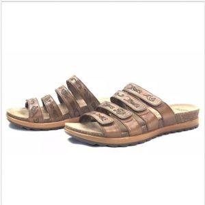 Dansko Brown Leather Strappy Slip On Slide Sandals